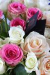 Букет из роз на длинной ножке - Розовый Фламинго