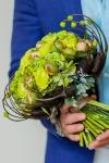 Букет невесты с пионами и диантусом - Тропический воздух