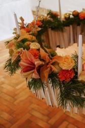 Подвесная декоративная композиция со свечами - Новогодняя люстра