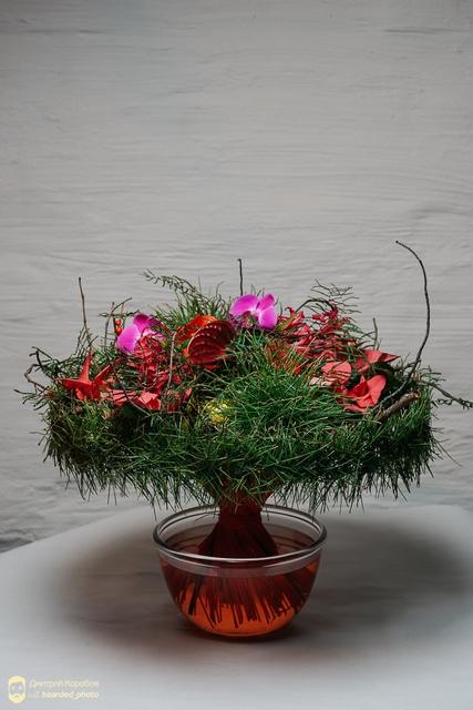 Букет новогодний - Зеленый мех
