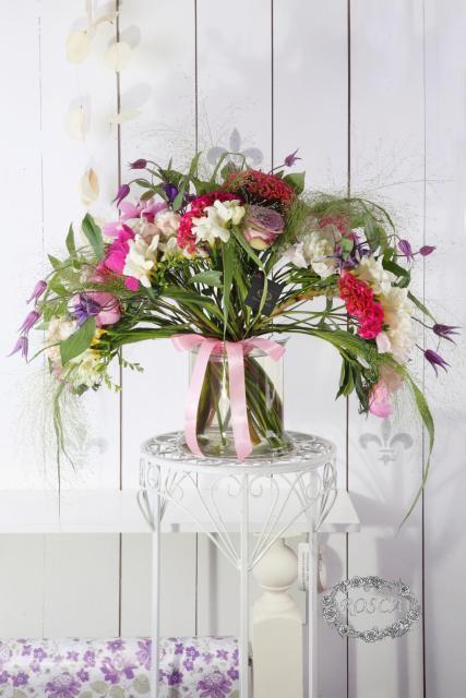Букет с пионами и розой - Французский веер